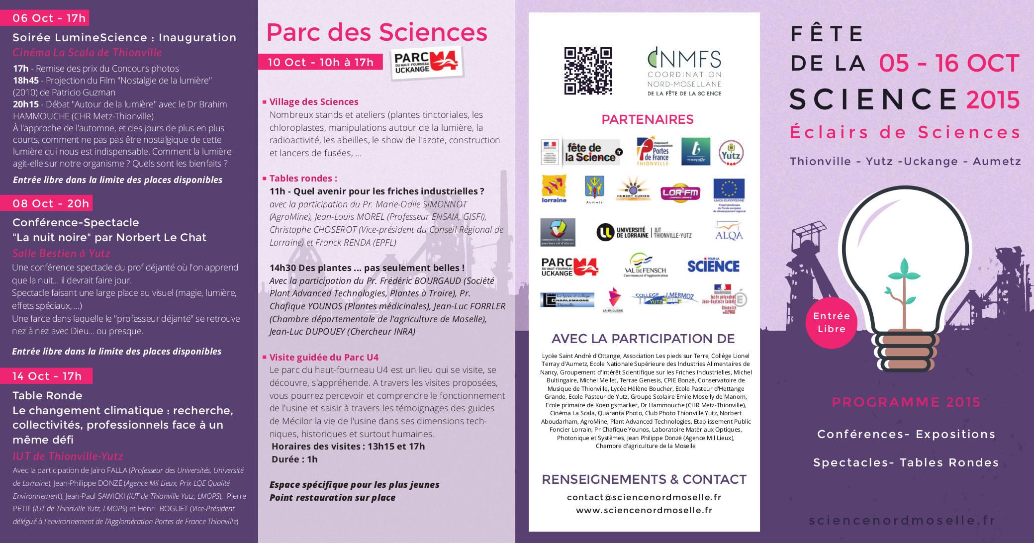 Fªte de la science – du 05 au 16 octobre 2015